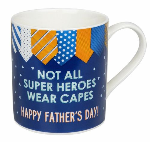 Happy Fathers Day - Not All Super Heroes Wear Capes Design Gift Fine China Mug
